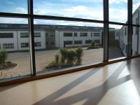 View onto the open courtyard in school