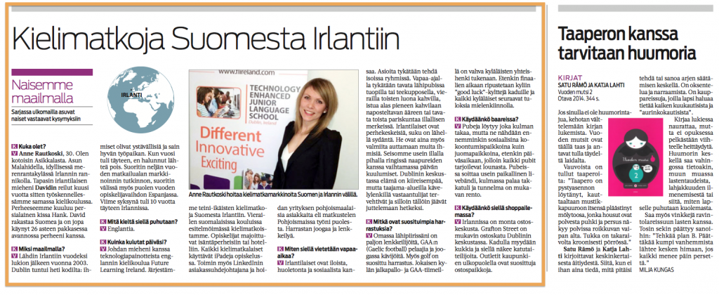 Anne from Future Learning in Etelä-Suomen Sanomat