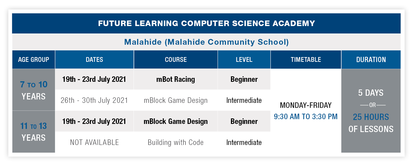 Malahide Schedule